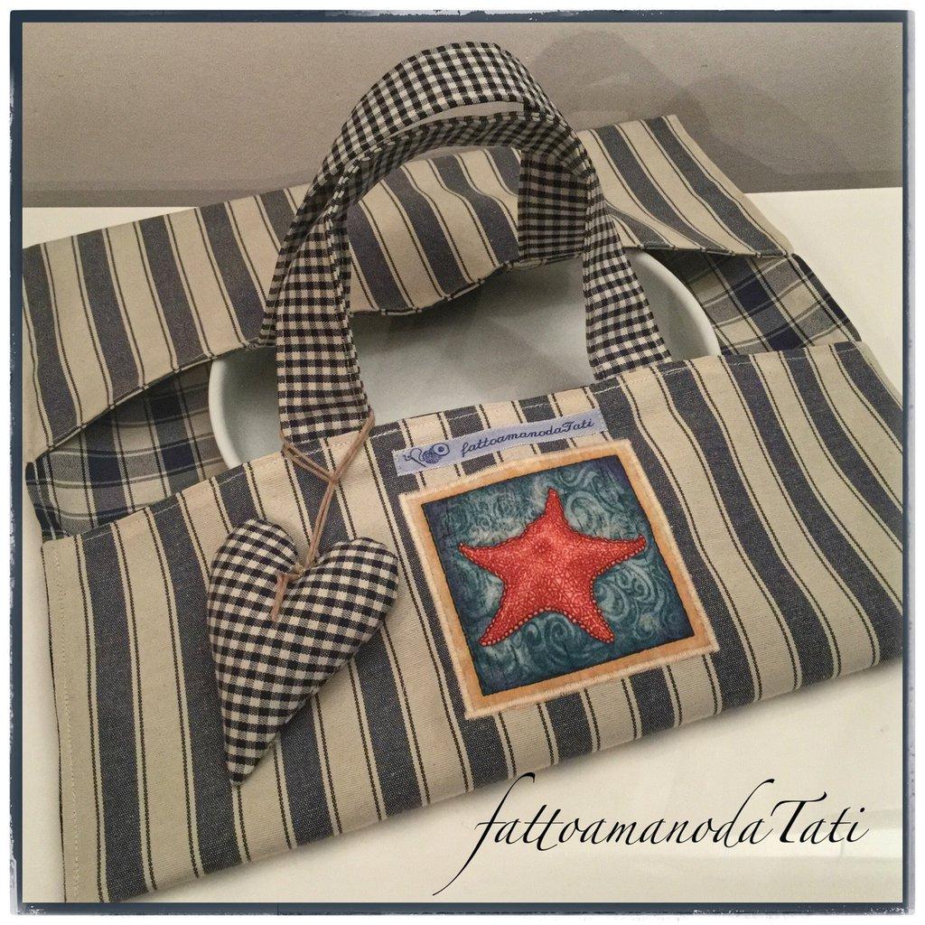 Porta torte in cotone a righe blu con appliquè stella marina