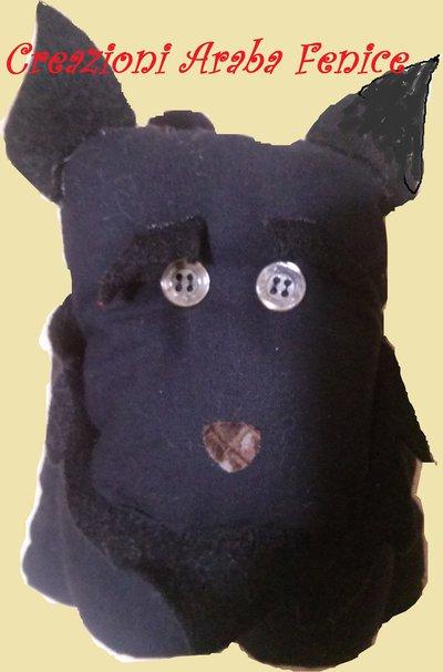 Fermaporta Cane Schnauzer Nero in tessuto cucito a mano
