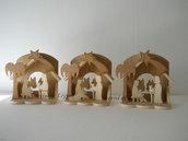Presepe capanna con palma realizzato in legno