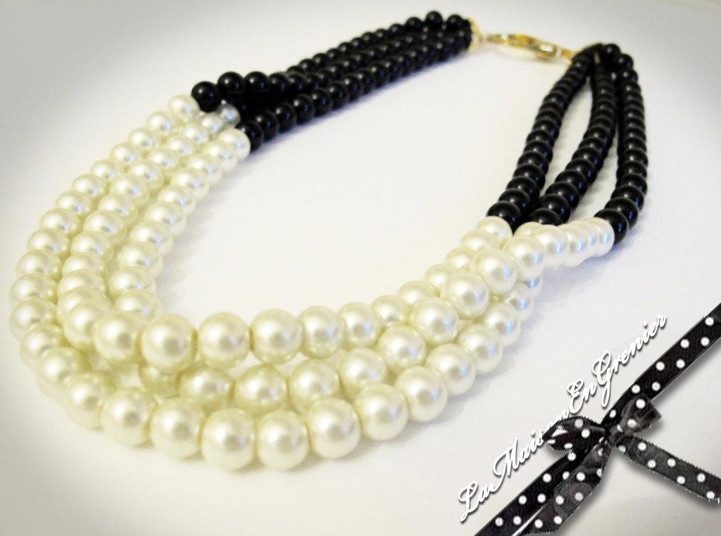 collana bicolore bianco e nero