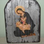Icona, legno,découpage , doratura in foglia simil argento Vergine con Bambin Gesù