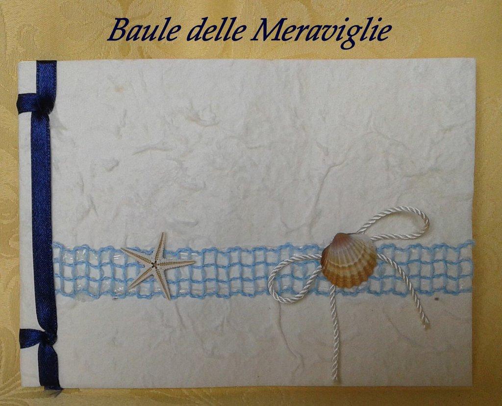 Partecipazione nozze in carta cotone - tema mare