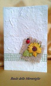 Partecipazione matrimonio in carta cotone - tema Girasole