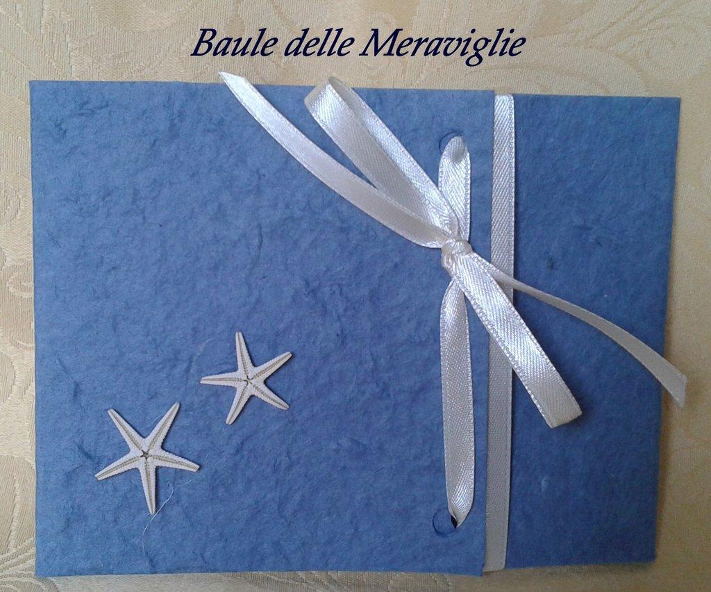 Partecipazione tema marino in carta cotone