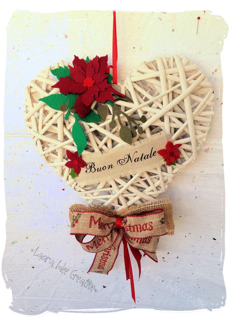 cuore natalizio in vimini personalizzabile