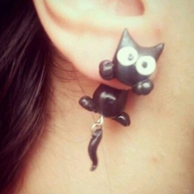 Orecchini gatto nero