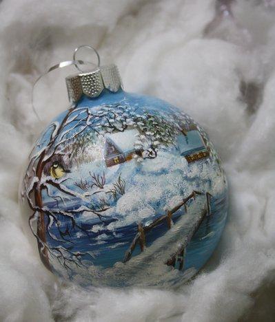 Sfera di Natale dipinta a mano - Casetta e ponte