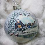 Sfera di Natale dipinta a mano - Casetta e fiume