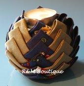 Porta candela di tessuto fatto a mano