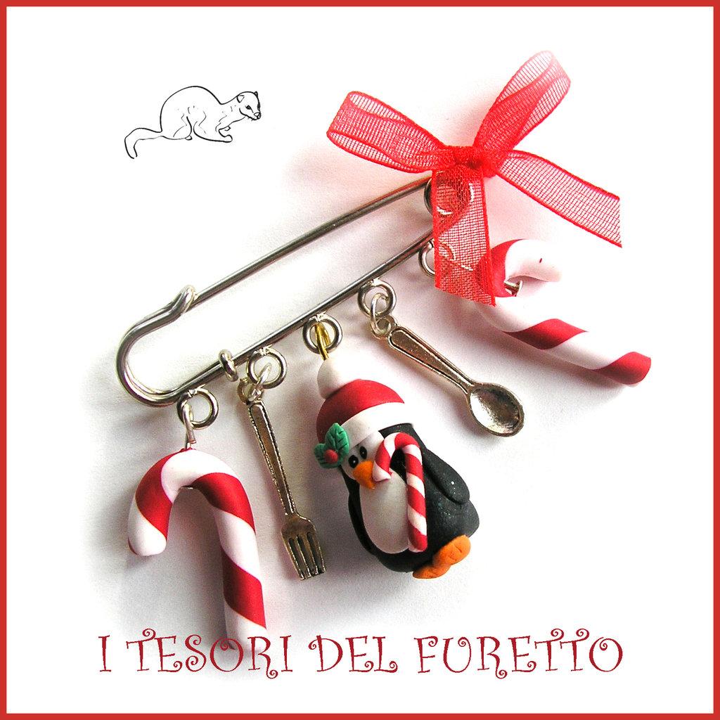 """Spilla Natale """"Pinguino e Bastoncini di zucchero"""" fimo cernit Accessori idea regalo Bambina ragazza borse cappotti"""