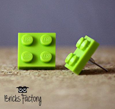 Orecchini LEGO originali a lobo verde chiaro piatti