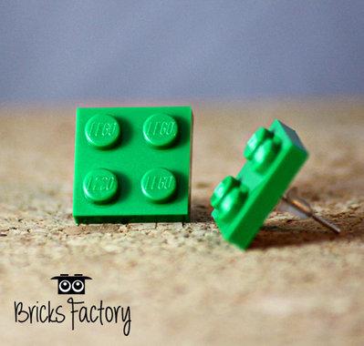 Orecchini LEGO originali a lobo verde scuro piatti
