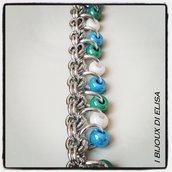 Bracciale chainmail azzurro, bianco e verde acqua
