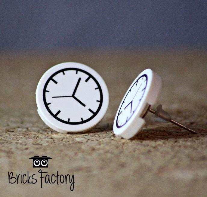Orecchini LEGO originali a lobo bianchi piatticon orologio