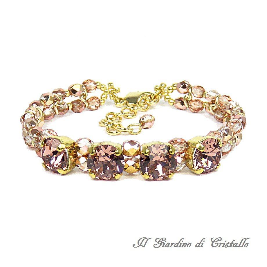 Bracciale chaton Swarovski blush rose mezzi cristalli riflessi rame fatto a mano - Ibisco