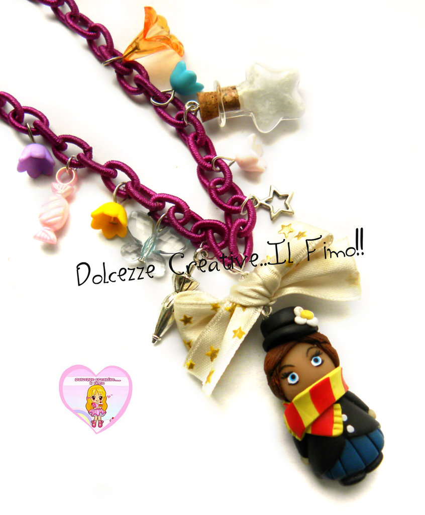 Collana Mary Poppins - Doll - Kawaii - Cartoon - Miniature - Fiori, ombrello, stelle, caramelle, zucchero