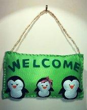 """Fuoriporta """"WELCOME"""" pinguini in pannolenci"""