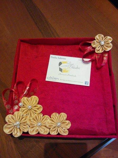 Svuotatasche Portaoggetti Contenitore con decori Kanzashi color Oro