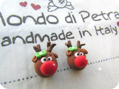 Orecchini Lobo Renna di babbo Natale in Fimo