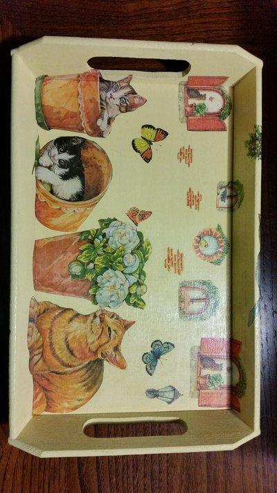 Vassoio con gattini e farfalle