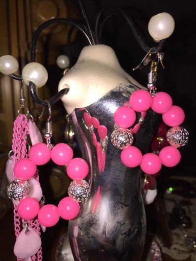 Orecchini perle fluo