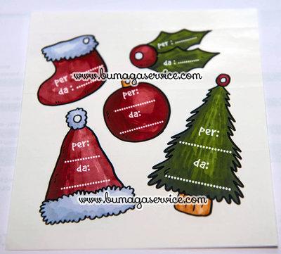 5 Etichette adesive natalizie chiudipacco