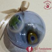 Palla di Natale Azzurra in vetro di Murano fatta a mano