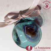 Palla di Natale Turchese in vetro di Murano fatta a mano