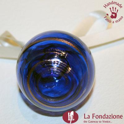 Palla di Natale Blu e Oro in vetro di Murano fatta a mano
