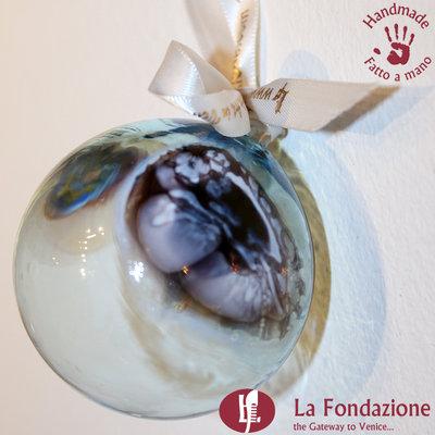 Palla di Natale Velata in vetro di Murano fatta a mano