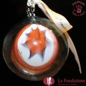 Palla di Natale Stella Arancio in vetro di Murano fatta a mano