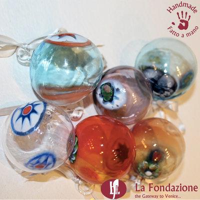 Confezione da 6 Palle di Natale in vetro di Murano fatte a mano