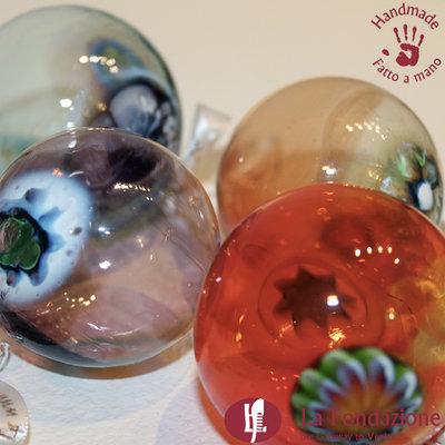 Confezione da 4 Palle di Natale in vetro di Murano fatte a mano