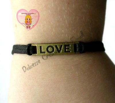 Bracciale LOVE - Amore - Idea regalo - Fidanzati - In Alcantara NERA CON GLITTER