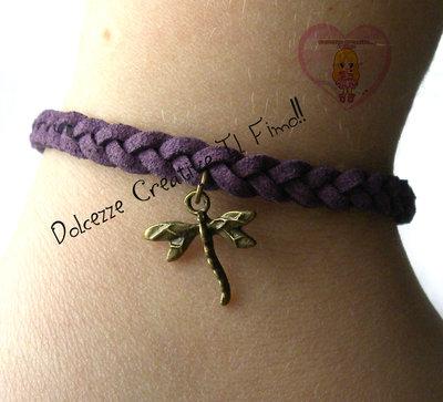 Bracciale intrecciato viola - Libellula - Dragonfly - Alcantara