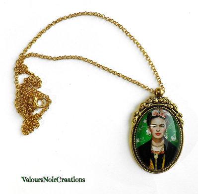 Collana cammeo Frida Kahlo metallo dorato