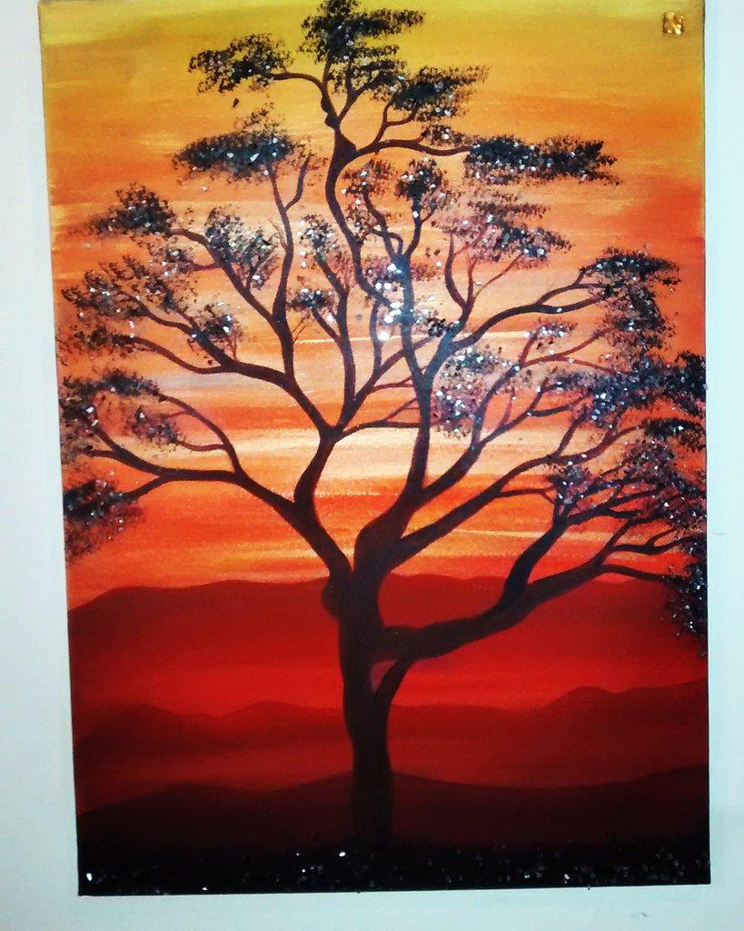 """""""baobab"""" Quadro moderno dipinto a mano con applicazione di specchietti"""
