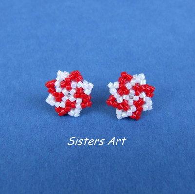 """Orecchini a lobo """"Stella rossa"""" realizzati con perline Miyuki delica"""