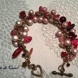 Bracciale di perle rosa e fuxia