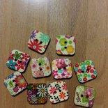 10 bottoni legno quadrati