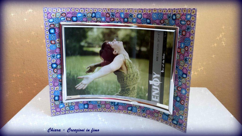 Cornice in vetro con decorazione in fimo murrine handmade colorata Idee regalo matrimonio regalo compleanno idea regalo natale