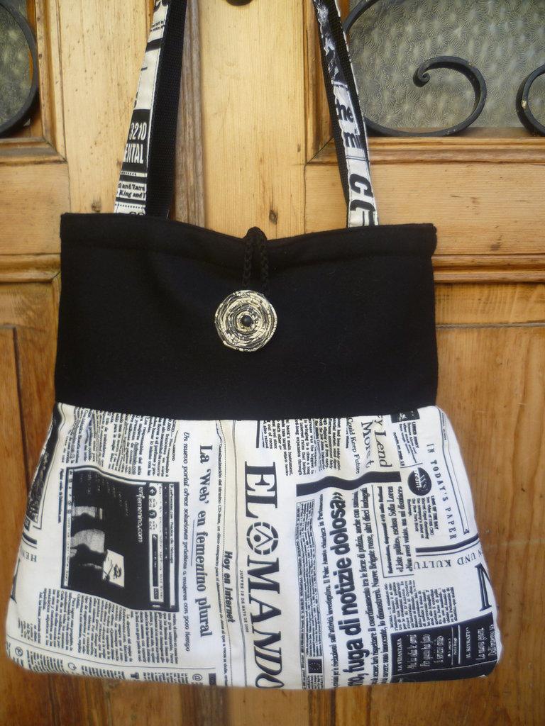 """borsetta in panno e cotone stampato""""giornale"""""""
