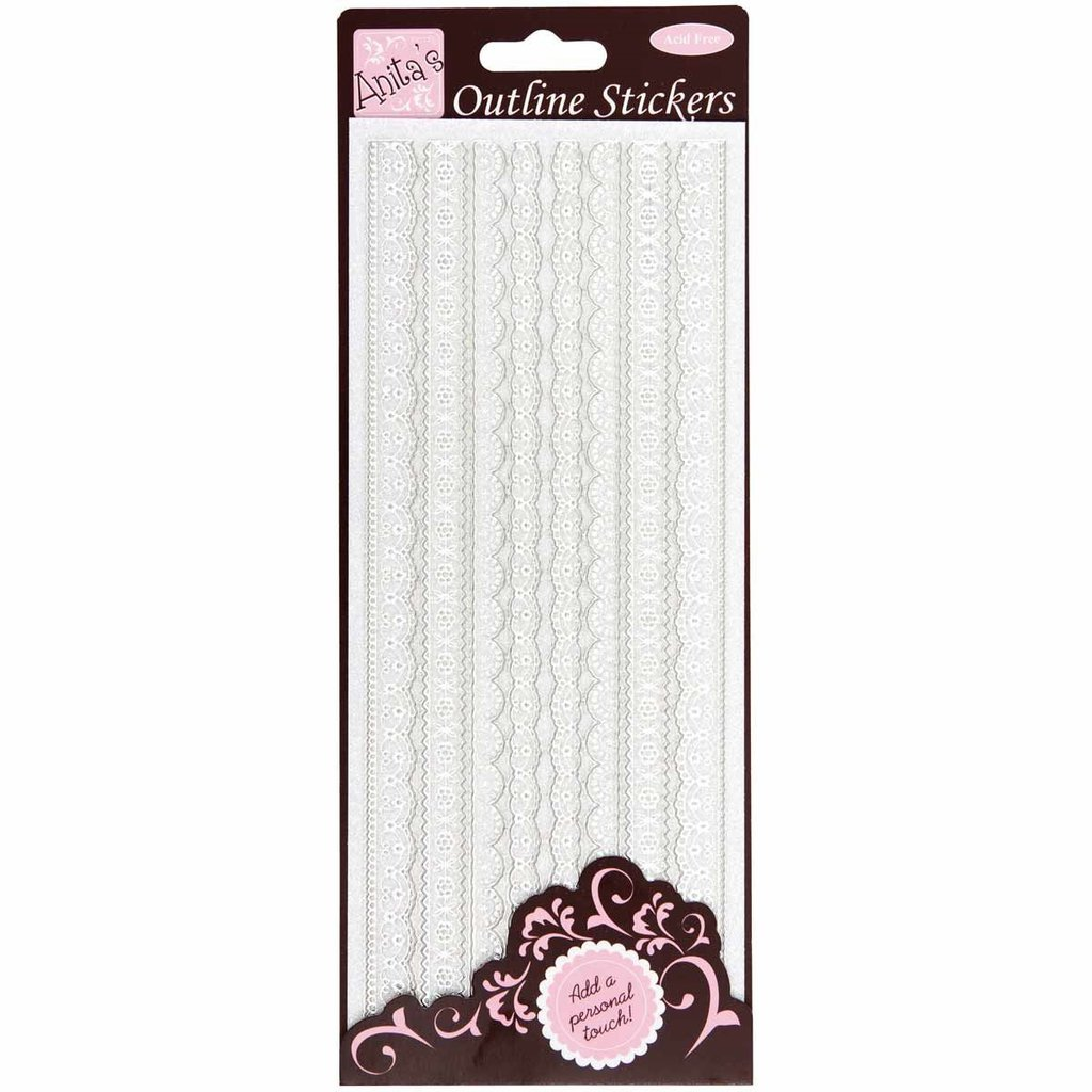 Outline Stickers - Glitter Lace Borders