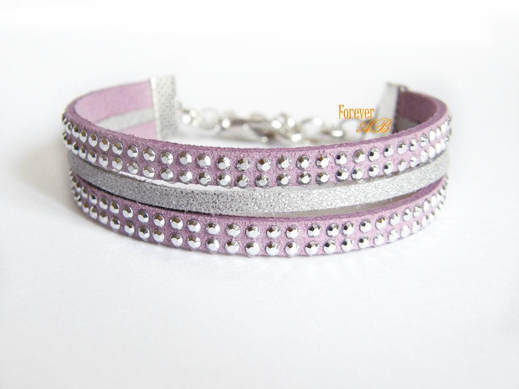 Braccialetto tre fili in alcantara lilla e argento glitterato idea regalo natale