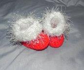 Scarpette stivaletti scarpine bebè rosso Natale uncinetto handmade regalo