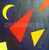 Quadro, Dipinto moderno, geometrico, contemporaneo, luna, triangoli, quadrato