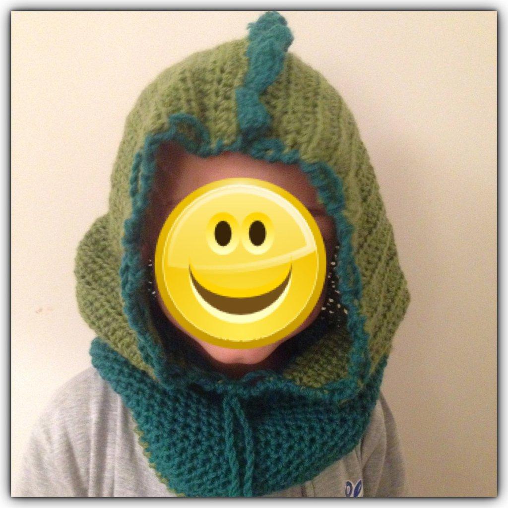 Cappello cappuccio dinosauro in lana