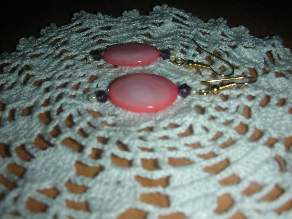 orecchini con madreperla rosa