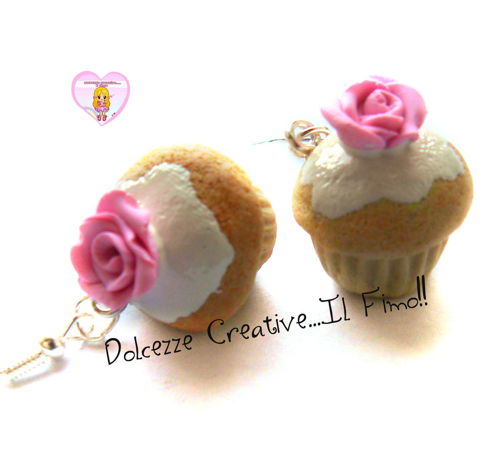 Orecchini Cupcake - Muffin con glassa alla vaniglia e rosa di zucchero - Pink