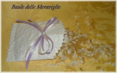 Bustina in carta cotone per riso e confettata - lavanda